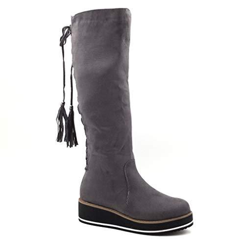 Angkorly - Damen Schuhe Stiefel - Reitstiefel - Kavalier - Biker - Plateauschuhe - Strass - Spitze - Fransen Keilabsatz 4.5 cm - Grau TH15-5 T 36