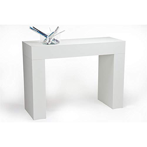 Mobili Fiver, Mesa Consola, Modelo Evolution, Color Fresno Blanco, 110 x 40 x 80 cm, Made in Italy