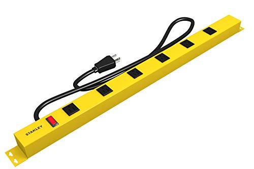 Stanley 31613 NCC31613 ShopMAX Pro 6-Outlet Surge-Protector Power Bar, 4-Foot Cord, Yellow