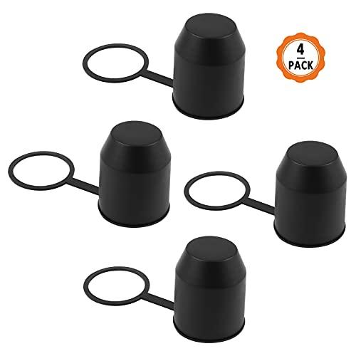Yangfei 4Pcs Tapa Bola Remolque Protector Bola Remolque, Cubierta de Bola de Remolque PVC Cubierta de Bola para Gancho de Remolque (Negro, 54mm)