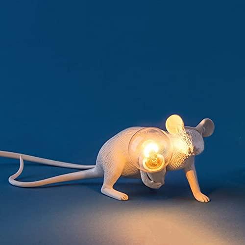 Lámpara de mesa de resina LED Little Mouse 3 luces nocturnas creativas en diferentes poses y colores adecuados para la sala de estar, el dormitorio, la habitación del bebé y la oficina,Blanco,Lie Down