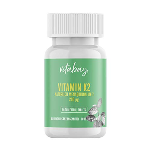 Vitamin K2 200 µg (60 vegane Tabletten) - All Trans Form (100%) - hochdosiert MK-7 (Menaquinon-7) - made in Germany
