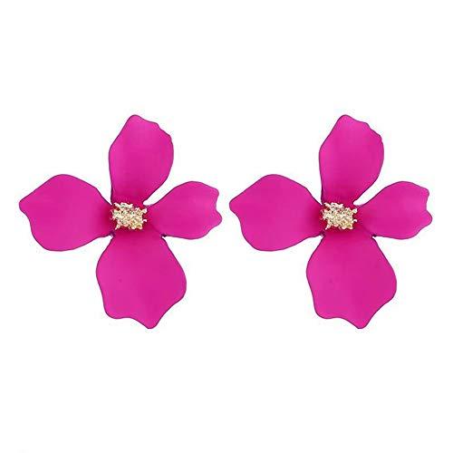 RIsxffp Mujeres Moda Dulce Asimétrica Pintura Flor Oreja Espárragos Pendientes Joyería Regalo Rose Red