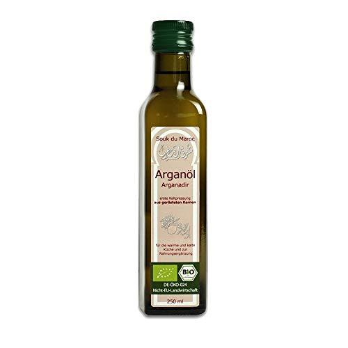 Huile d'argan biologique Huile alimentaire pressée à froid rôtie Arganadir du Maroc, 250 ml ✔ 100% végétalien pur ✔ pour la cuisine, les salades et les suppléments nutritionnels