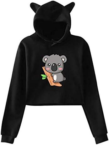 shenguang Dames Hoodies Leuke Koala Casual Gestreepte Lange Mouw Crop Top Kat Oor Sweatshirt Pullover
