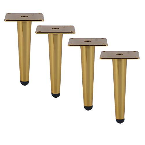 Furniture legs KUWD Patas para Muebles De Acero Inoxidable, Juego De 4 Piezas, DiseñO CóNico, Dorado, Patas De Sofá, Patas De Mesa, Patas De Gabinete