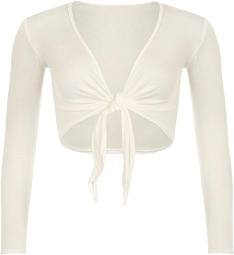 WearAll - Neu Damen Achselzucken Binden Langarm Top - Crème - 36-38