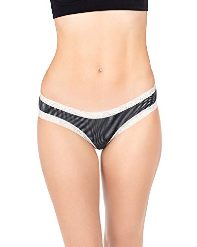 Kindred Bravely Lace Trim Cheeky Underwear   Low-Rise Panties for Women 3 Pack (Large, Assorted)