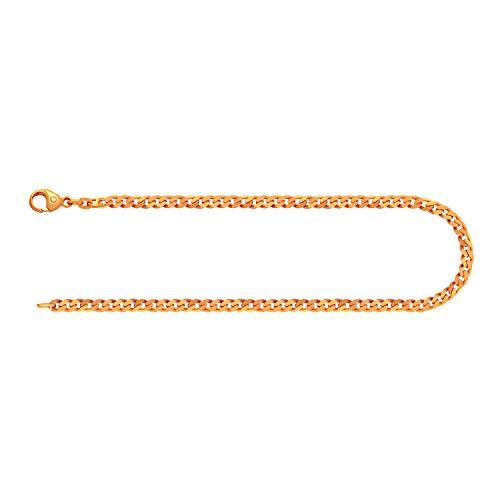 Pulsera para hombre de oro real de 2.7 mm, pulsera cadena de panzer plano oro amarillo 8 k 333, pulsera de oro con sello, con cierre de langosta, long 20 cm, p. 3,2 g