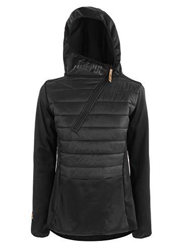 Idealer Pulverschnee IDEPUL Hybridjacke Damen mit Kapuze, Hybridpullover, Farbe Schwarz, Größe M
