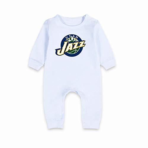 LDLXDR Traje de Gateo para bebé, Adecuado para Traje de Baloncesto para bebés recién Nacidos (0-15 Meses) de una Pieza de algodón James Curry Laker No. 23,White-2,73cm