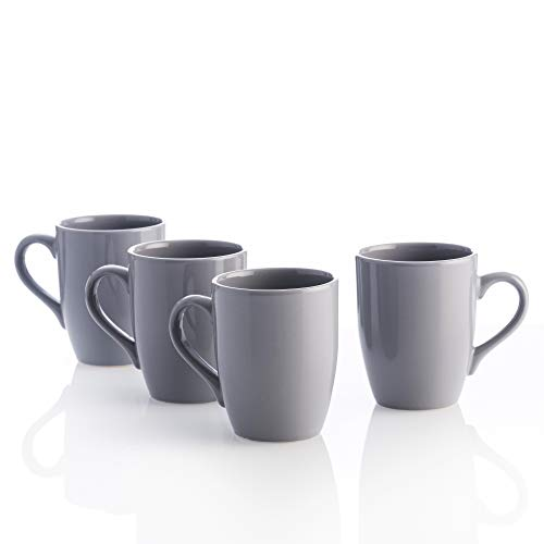 UNITED COLORS OF BENETTON. BE063 Set 4pcs tazas 11cm 360ml loza gris Casa Benetton, Gres