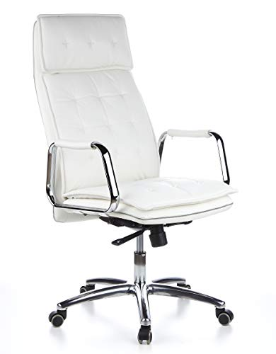 hjh OFFICE 600922 Chefsessel Bürostuhl Villa 20 Nappaleder Weiß Büro-Sessel mit hoher Rückenlehne