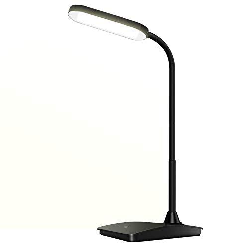 Schreibtischlampe LED,6 W Verstellbarer Schwanenhals Büro Tischleuchte 3 Helligkeitsstufen dimmbar USB-Anschluss Augenschutz Touchfeldbedienung für Büro,Schlafzimmer,Lesen, Studieren, Arbeit