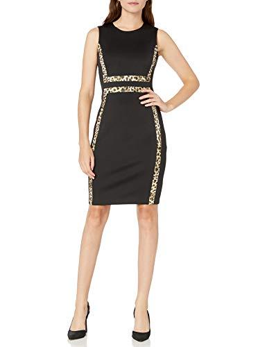 Calvin Klein Women's Sleeveless Color Block Sheath Dress, Black/Cream, 6