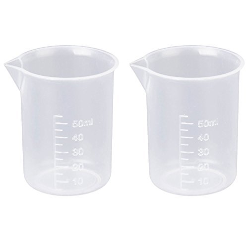 Beyond Dreams® 2 Stück 50 ml Transparenter Messbecher für Labor oder Küche | Kunststoff Becher | Klarer Kunststoffbecher für Labor Tests