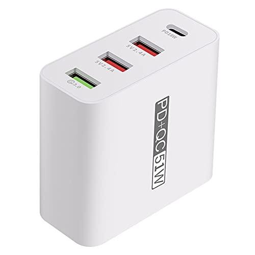 Cargador USB QC3.0 20W PD de Carga rápida Cargador múltiple USB Tipo C Adaptador de Pared de 4 Puertos AU para el teléfono móvil Blanca Diseñado con un tamaño pequeño