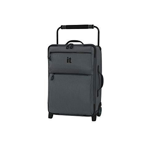 "IT Luggage 21.8"" World's Lightest Los Angeles 2 Wheel Carry On, Charcoal Grey, One Size"
