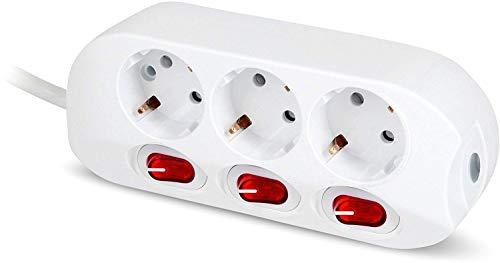 Steckdosenleiste 3-fach - mit Einzelschalter beleuchtet - 1,5m Kabel - max. 3500W