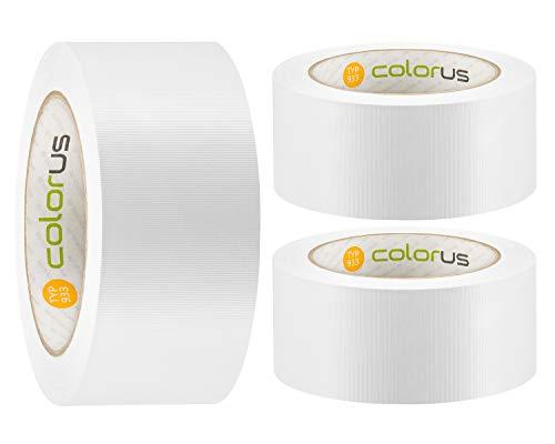 3 x Colorus PVC-Schutzband PLUS | Putzband 50 mm x 33 m weiß gerillt | Putzerband Abdeckband leicht abreißbar | Klebeband für Innen und Außen | 14 Tage UV-Beständigkeit | Abklebeband Putz
