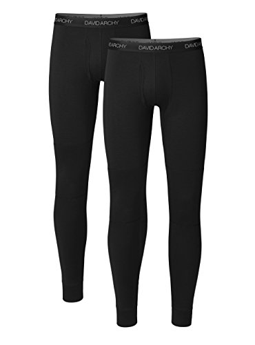 DAVID ARCHY Men's 2 Pack Rib Stretchy Winter Warm Base Layer Pants Fleece Lined Thermal Bottoms Long Johns with Fly (S, Black)