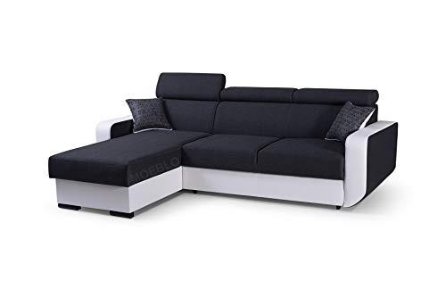 mb-moebel Ecksofa mit Schlaffunktion Eckcouch mit Bettkasten Sofa Couch Wohnlandschaft L-Form Polsterecke Pedro (Schwarz + Weiß, Ecksofa Links)