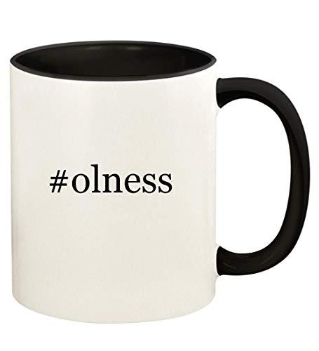 #olness - 11oz Hashtag Ceramic Colored Handle and Inside Coffee Mug Cup, Black