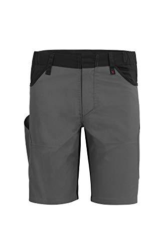 Qualitex X-Serie Unisex Shorts in grau/schwarz Größe 42, Kurze Arbeitshose für Herren und Damen, Arbeits-Bermuda mit vielen Werkzeugtaschen