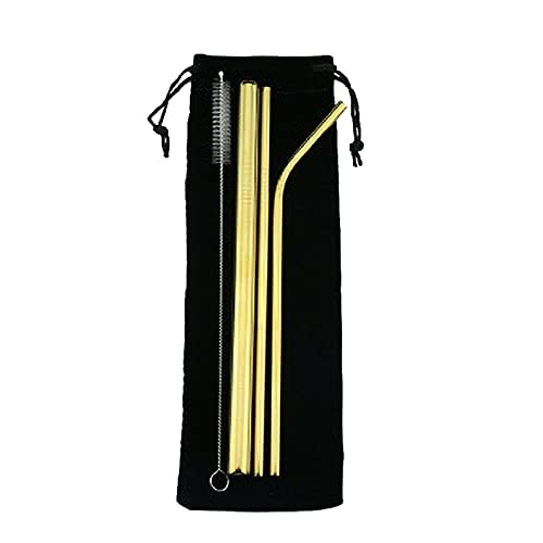 Alowy Pajitas Desechables, 5 UNIDS Eco Friendly Reutilize Straw 304 Straw Steb Stray Smoothies Stebing Stebras Conjunto con Bolsa De Cepillo Acogedor (Color : GD)