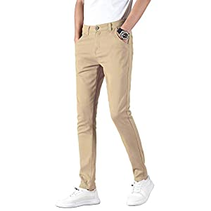 Men's Skinny Stretchy Khaki Pants Colored Pants Slim Fit Slacks Taper...