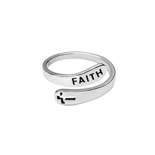 Anillo ajustable de plata de ley 925 con cruz de fe para mujeres y hombres cristianos dedo abierto anillos religión joyería