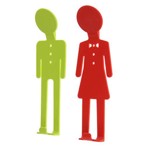 K&G LA0521gr wandhaken set van 2 mannen en vrouwen kleurrijke kunststof garderobehaken badjas handdoekhaak kledinghaken wandhaken badhaak