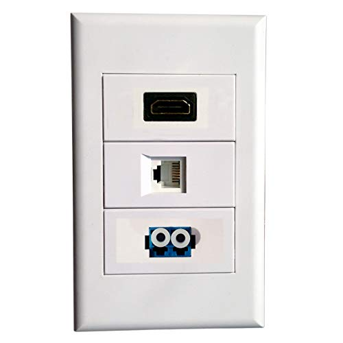 Wall Faceplate with HDMI + RJ11 + LC Modules,White Wall Mount Plate Fiber Optic Telephone Line Keystone Panel,For Cabling System Service integrated wiring