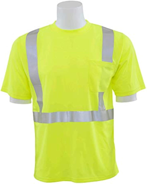 ERB 63048 9006St Birdseye Mesh ANSI Class 2 Tall T-Shirt, Lime, Medium