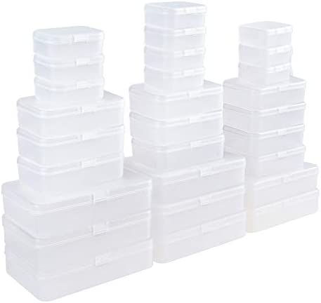 LJY 28 Pieces Mixed Sizes Rectangular Empty Mini Plastic Storage Containers with Lids for Small Items and Other Craft Projects (Clear)
