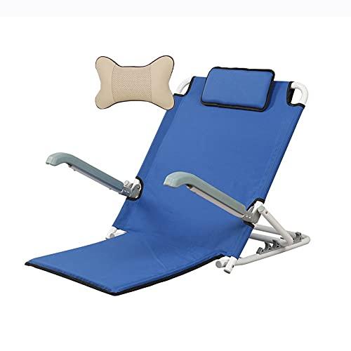HYYYH Supporto per la Schiena del Letto Schienale per Letto per Anziani Sedia da Pavimento per Il Tempo Libero in Cotone con braccioli, può sopportare 120 kg (Color : Blue, Size : 67 * 57 * 43cm)