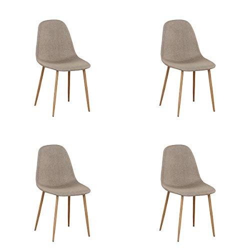 GroBKau Esszimmerstuhl mit gebogenem Sitz, Schreibtischstühle mit Metallbeinen für Esszimmer Wohnzimmer 4er Set (Khaki)