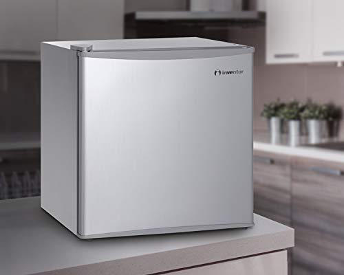 31iq4mVRXkL - Inventor Mini Nevera Silenciosa A++ de 43 Litros con Compresor, Color Plata, Ideal para Hoteles, Estudiantes, Oficinas, Pequeños Hogares