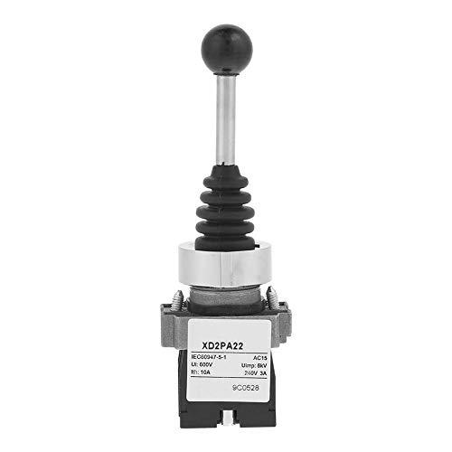 Fafeicy XD2PA22CR 2NO Interruptor de joystick momentáneo, con retorno de resorte de 2 posiciones, IP55