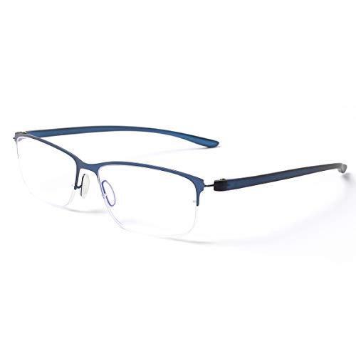 MIDI-ミディ ブルーライトカット 老眼鏡 UVカット ハーフリム メタルフレーム ビジネスシーンにマッチする シャープ リーディンググラス メンズ ブルー レンズ度数+2.50 (m318,c3,+2.50)