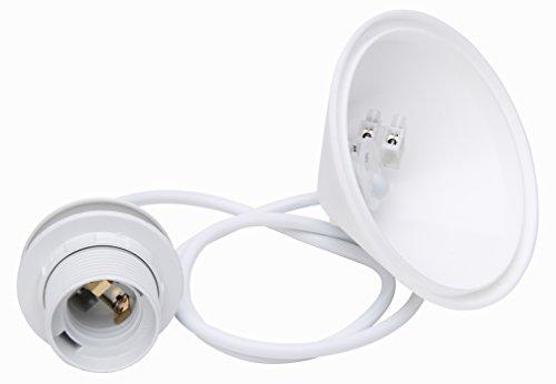 Kopp Schnurpendel für Lampenschirme, 11cm Deckenbaldachin mit Zugentlastung und ca. 55cm Leitung H03VV-F2 x 0,75 mm², Iso-Fassung E27 mit Schirmträgerring, weiß, 216901045