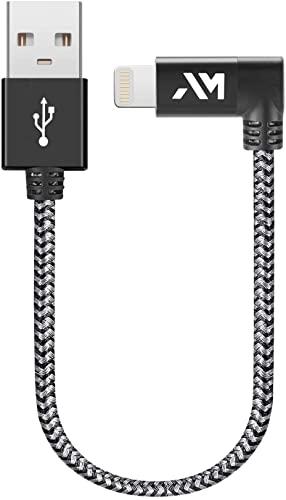 Cavo USB-Lightning Apple, Amazer [ Certificato Apple MFi ] Cavo iPhone Compatibile per iPhone XR/XS/X / 8/7 / 6, Connettore Alluminio, Nylon Intrecciato - Grigio Siderale [20CM/0.65ft]