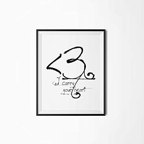 Erti567an I Carry Your Heart Póster motivacional para imprimir en la pared con cita impresa para regalo con texto en inglés