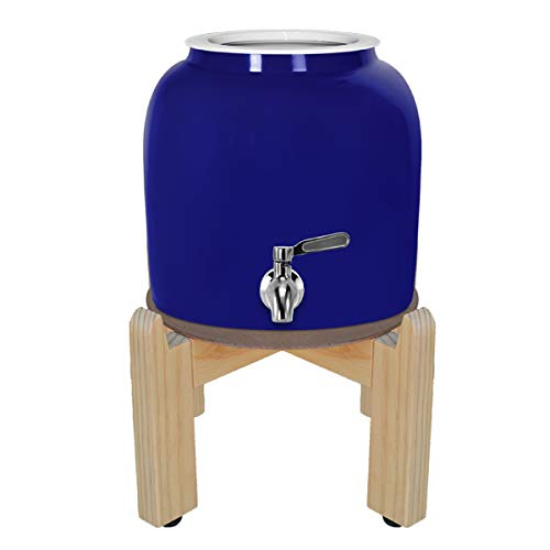 Geo Sports Porcelain Ceramic Crock Water Dispenser, Stainless Steel Faucet, Valve and Ceramic Lid Included. Fits 2 to 5 Gallon Jugs. BPA & Lead Free (Solid Blue)