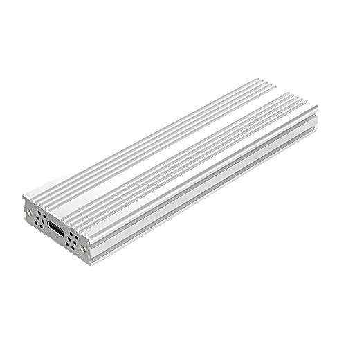 Selcouthlie Caja SSD Tipo C 3.1 a M.2 NVME NGFF SATA SSD AceleracióN UASP 6Gbps Caja de Aluminio con Ventilador para Windows, Plateado