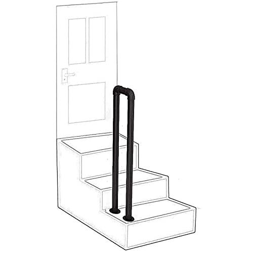 Pasamanos de escalera, en forma de U, antideslizante, mejora de hierro forjado, barandilla de tubería galvanizada con kit de instalación, pasamanos para escalones al aire libre, 70-95 cm, negr