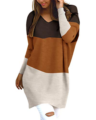 Style Dome Femme Oversize Pull Tops Col V Manches Longues Casual Shirt Robe Tunique Blouse, Café / Orange / Kaki, M