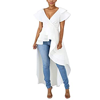 Annystore High Low Tops for Women - Ruffle Short Sleeve Off The Shoulder Bodycon Peplum Shirt Dresses White