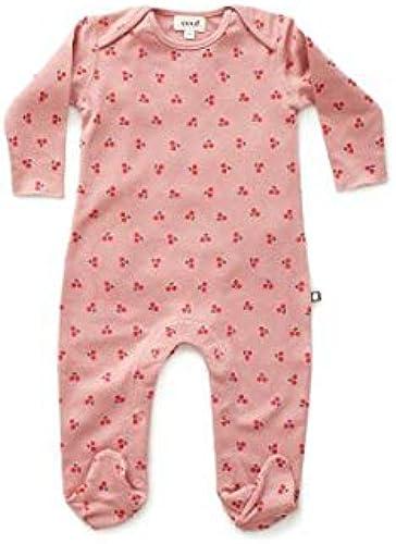 Oeuf Baby Clothes Footie Jumper-Dark Rosa cherries-0 3M