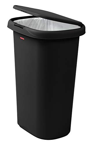 Rubbermaid Spring-Top Lid Trash Can for Home, Kitchen, and Bathroom Garbage, 13 Gallon, Black